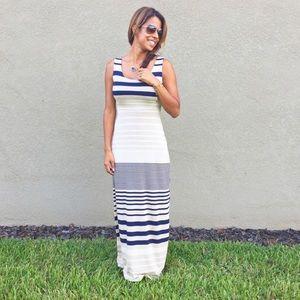 Stitch Fix Blue, Gray, & White Striped Maxi